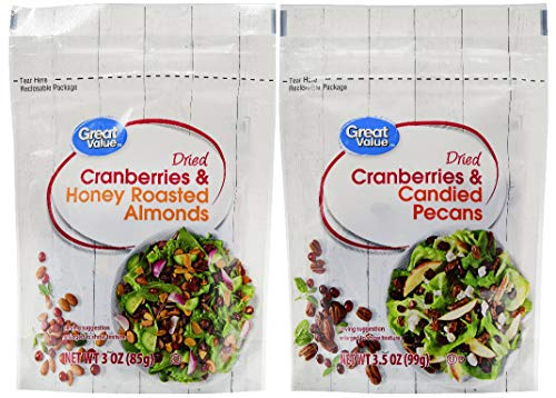Great Value Salad Topper Variety pack: 1 Dried Cranberries & Candied Pecans and 1 Dried Cranberries & Honey Roasted Almonds
