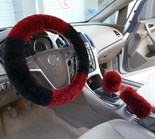 Wheel Set Cover Steering (Dotesy 3 Pcs Winter Plush Car Steering Wheel Cover Set with Handbrake Cover and Gear Shift Cover in Soft Australia Pure Wool (Wine Red, Black))