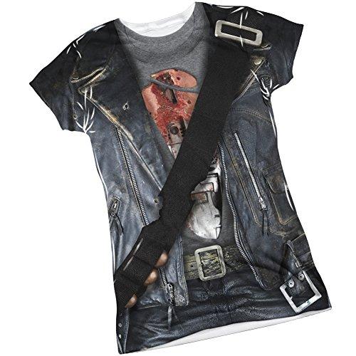 T800 Costume -- Terminator II Front/Back Sports Fabric Juniors T-Shirt, (Sarah Connor Terminator 2 Costume)