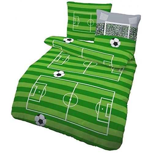 IDO Fein Biber Bettwäsche 2tlg. Grün Fußball 47783-604 Kinder Jugend Bettwäsche Bettbezug 80 x 80 cm / 200 x 135 cm
