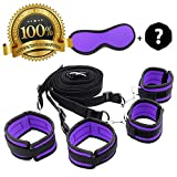 FriskyNite™ Premium Bed Restraint System Kit Medical Grade Strap with Soft Furry Comfortable Wrist and Ankle Cuffs BONUS Dice Included (Purple)