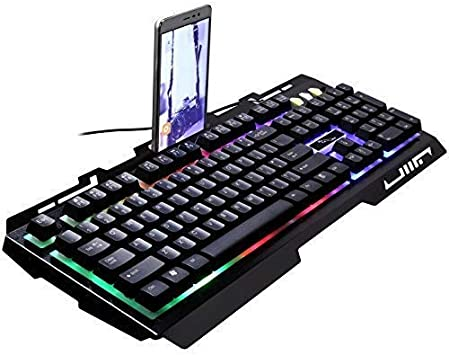 Zjcpow Teclado Iluminado con Cable, botón de suspensión manipuladora, Gaming Keyboard (Color: Blanco) (Color: Negro) xuwuhz