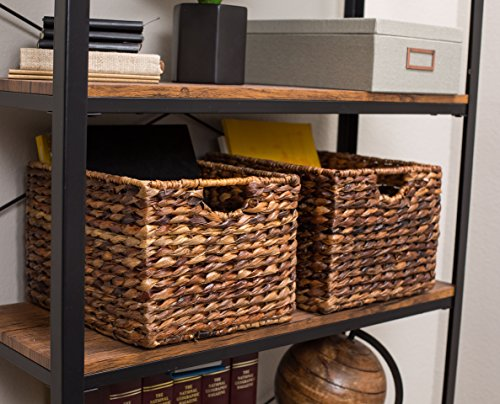 """BIRDROCK HOME Woven Storage Shelf Organizer Baskets with Handles - Set of 3 - Abaca Wicker Basket - Pantry Living Room Office Bathroom Shelves Organization - Under Shelf Basket - Handwoven (Espresso) - BEAUTIFUL ORGANIZATION: organize your home without missing out on a beautiful, decorative design. Keep your home shelves organized by using the baskets to stow away magazines, toys, books, dog toys, papers, files, electronics and other household items within the uniquely designed seagrass bins. Baskets are carefully handwoven giving each one a unique touch SPACIOUS INTERIOR: large interior measuring 8.25"""" H x 11.75"""" L x 10"""" W, gives you plenty of space to store a variety of household items. FITS MOST SHELVES: designed to fit most décor shelves, book shelves, pantry shelves, kitchen shelves, bathroom shelves, etc. (Measure shelves before purchasing to avoid returning) - living-room-decor, living-room, baskets-storage - 51IH5bswbHL -"""