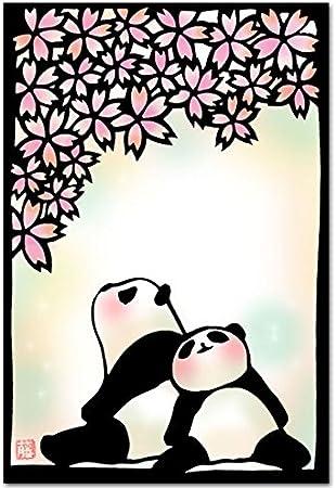 Amazon 切り絵ポストカード 春うらら パンダのイラスト 絵葉書 ポストカード 絵柄付はがき 文房具 オフィス用品