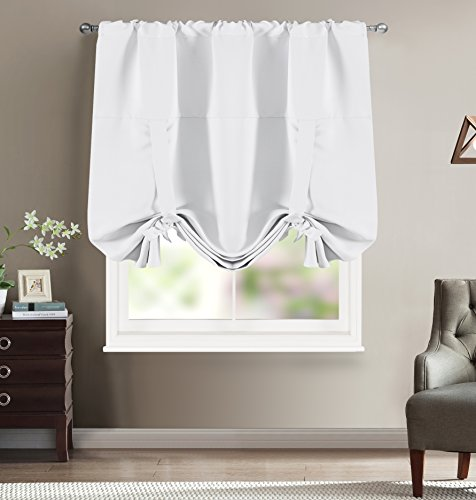 BETTER HOME USA BHU Thermal Insulated Blackout Balloon Curtain for Small Window - Rod Pocket - Adjustable Tie-up, Balloon Shade Curtain 46W by 63L Inches - White