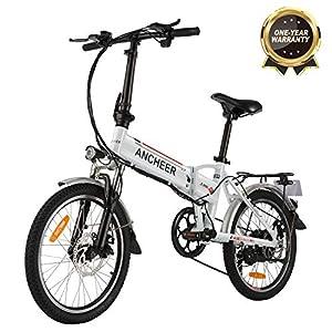 """Bicicletta Elettrica Pieghevole, Bici al Lavoro, E-Bike -Fold 20""""/26"""", Adulto, 250W Batteria 36V 8Ah, Cambio Shimano a 7 velocità (20 Bianco Pieghevole) 4 spesavip"""