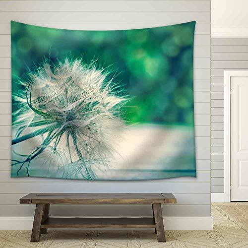 Dandelion Seeds on Table Close Up Fabric Wall