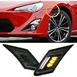 iJDMTOY White/Amber LED Smoked Lens Side Marker Blinker Lights For 2013-2016 Scion FR-S, 2013-2018 Subaru BRZ, 2017-up Toyota 86