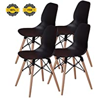 Modern Dining Chairs -No.1 Tufted Mid Century Eames Style DSW Side Chairs, 300 lbs Capacity,17.8 inch Seated Height,Sturdy Wooden Legs,Upgraded Base-Black,Set of 4