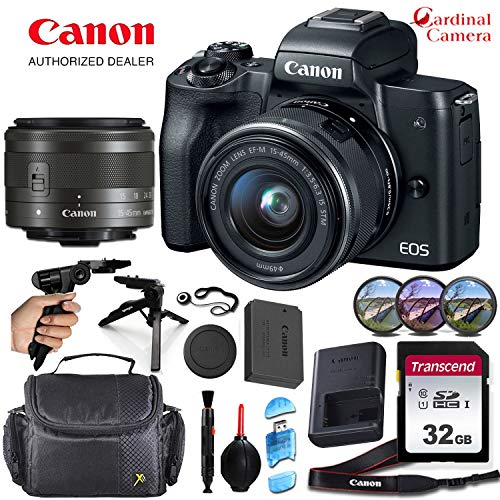 Canon EOS M50 Mirrorless Camera (Black) and Canon 15-45mm f/3.5-6.3 is STM Lens Along with Padded Equipment Case + Elemental Accessory Bundle