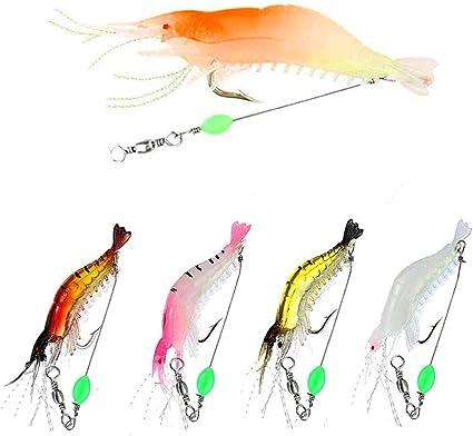 5pcs Soft Fishing Lure Lifelike Shrimp Prawn Bait Crankbaits Hook Tackle