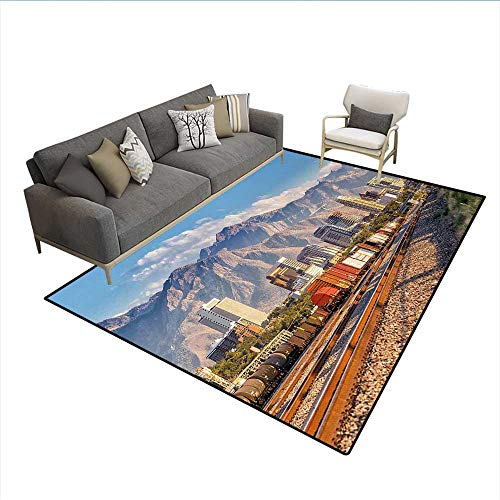 Floor Mat,Downtown Salt Lake City Skyline in Utah USA Railroads Mountains Buildings Urban,3D Printing Area Rug,MulticolorSize:6'6