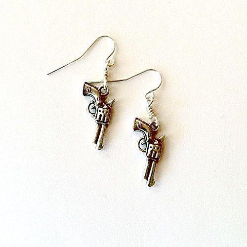 Handmade Dangling Earrings (Gun Earrings antique silver dangling Rockabilly gun earrings Handmade Gift by Aunt Matildas Jewelry Box)