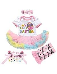 Newborn Baby Girl 1st Easter Romper Tutu Dress+Headband+Leg Warmers Shoes Outfits