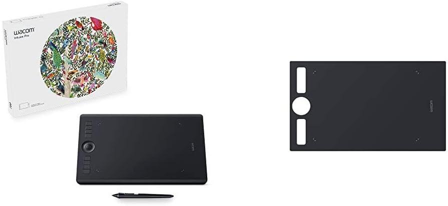 Wacom Intuos Pro Digital Graphic Drawing Tablet for Mac or PC, Medium, (PTH660) New Model,Black Bundle with Wacom ACK122211 Texture Sheet Medium - Smooth