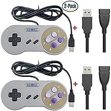 Exlene 2 Pack Retro USB SNES Super Nintendo Game Controller Gamepad Joystick with USB extension cable for Windows PC/MAC (Grey)