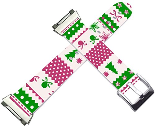 Fitbit Ionic Strap Small/Large Leather - Fitbit Ionic Band Silver Connectors Christmas Tree Design Green Print Gift