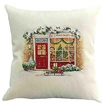 Elogoog Christmas Linen Square Throw Flax Pillow Case Decorative Cushion Pillow Cover (18 x 18 Inches, B)