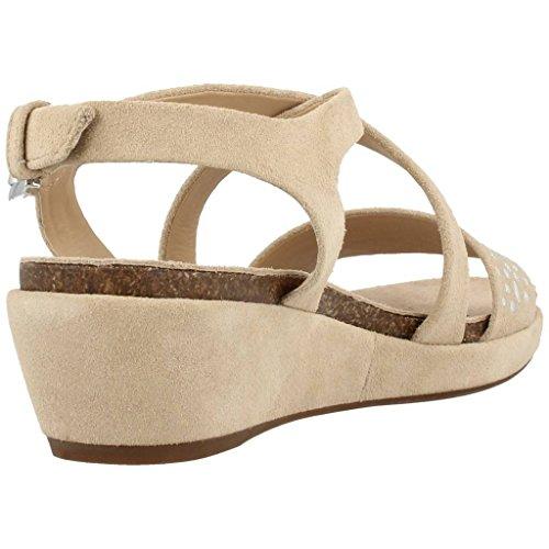 Sandalias y chanclas para mujer, color Hueso , marca GEOX, modelo Sandalias Y Chanclas Para Mujer GEOX D ABBIE F de Piel Tacon 5 cm. Beige