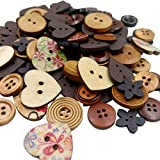 Mixed Color Wooden Buttons Sewing Button Kid's Scrapbooking DIY Craft Wedding Decoration - Coffee
