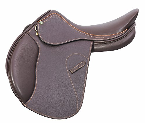 Hdr Close Contact Saddle (Henri de Rivel Memor-X Close Contact English Saddle | Horse Riding Equestrian Saddle - Memory Foam Seat - Australian Nut Printed - 17.5 Regular)