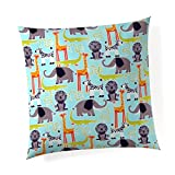 Glenna Jean Jungle Babies 18''x 18'' Pillow with Fill for Baby Nursery, Decorative Soft Cushion Square