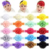 20Pcs Baby Girls Headbands Chiffon Flower Lace Hair Band Accessories for Newborns Infants Toddlers (20Pcs style 2)