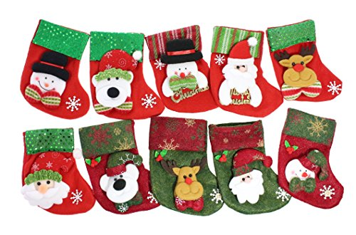 Santa Mini Stocking (JustNile Beautiful Decorative Sequined Soft Felt Christmas Stockings Mini Santa Gift & Treat Bag Party Decoration Fireplace Decor - Set of 10, Each 6.4