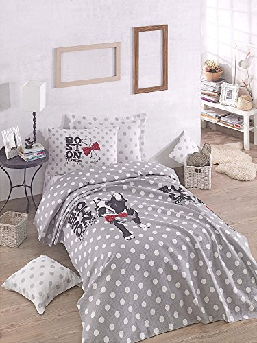 LaModaHome 3 Pcs Luxury Soft Colored Bedroom Bedding 100% Cotton Double Coverlet (Pique) Set Thin Summer/Soft Relaxed Comfortable Pattern Dog Animal Mottled/with Flat Sheet by LaModaHome