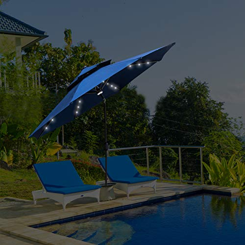 KOOLWOOM 9ft Solar LED Lighted Patio Umbrella with Crank,2 Layers with Ventilation,Manual Tilt Adjustment Outdoor Umbrella with Fade Resistant Water Proof Fabric and Push (Navy Double-Tops)