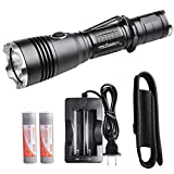 ORCATORCH T20 Tactical Flashlight 980 Lumens LED Rechargeable Handheld Flashlight with Holster, IP68 Water-Resistant, for Police Officer, Security Guards, Firefighter and Outdoor Enthusiast