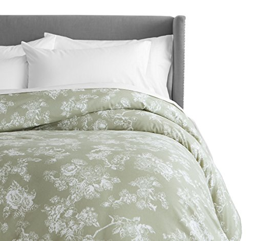 Pinzon 170 Gram Flannel Cotton Duvet Cover, King, Floral Sage - Toile Green Sage