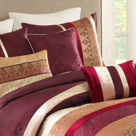 Better Homes and Gardens Dana 7-Piece Bedding Comforter Set, Red/Gold