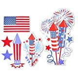 Patriotic 4th of July Uncle Sam Decoration Signs Multi Colored Assortment Red White And Blue Flag Design For Outdoor Lawn Patio and Garden Yard Stakes Includes 6 Cut-outs