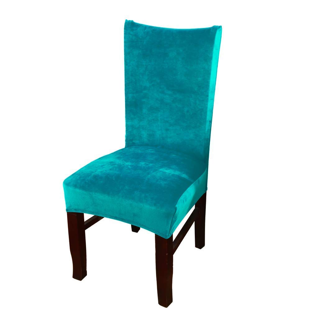 Homaxy Premium Velvet Texture Dining Room Chair Covers, Stretchable Kitchen Decoration Dining Chair Cover, Durable Anti-dust Dinning Chair Protectors Case - Set of 4, Green Slipcover