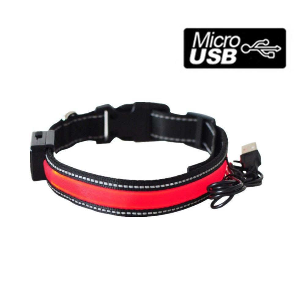 Lesypet USB collier rechargeable réfléchissant Flashing Lights LED Dog Animaux sécurité, chargeur solaire et étanche, Fit for Small Medium grandes Animaux domestiques , Bleu