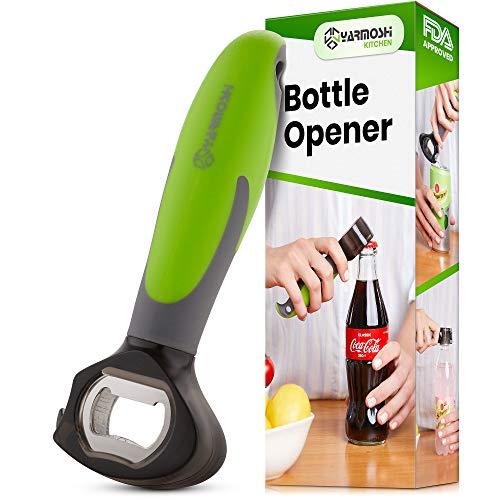 Yarmoshi 3 in 1 Bottle Opener, Cap, Screw Top, Soda Can Tab Opener, Non-Slip, Rubber Ergonomic Easy Grip Handle. Stainless Steel and PS Head in Cute Penguin Design. Arthritis Aid Gadget. 6.5 Inches. (Opener Soda Bottle)
