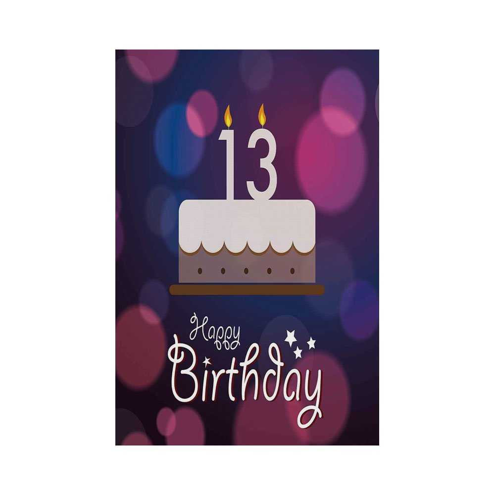 Polyester Garden Flag Outdoor House Banner13th Birthday DecorationsHand Drawn Party Cake With Number Candles Abstract BackdropBlue Pink White