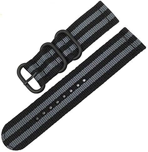 RTYW 時計バンドナイロンストラップブラックリングバックル18ミリメートル20ミリメートル22ミリメートル24ミリメートルストライプ交換バンドウォッチアクセサリー (Band Color : Black gray B, Band Width : 20mm)