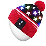 Rotibox LED String Light Up Beanie Hat Knit Cap with Copper Wire Colorful Lights 4 feet 18 LEDs for Men Women Indoor and Outdoor, Festival, Holiday, Celebration, Parties, Bar, Red