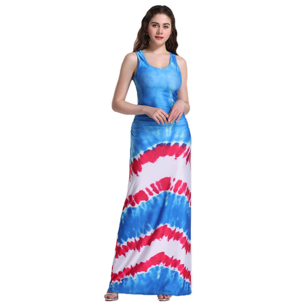 Euone Dress Clearance, Woman Summer Casual Dress Clearance Tank Patchwork Striped Print Sleeveless Long Sundress Women Brief Beach Party O-neck Dresses