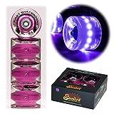 Sunset Skateboards Purple 59mm Cruiser LED Light-Up Wheels Set with ABEC-7 Carbon Steel Bearings (4-Pack)