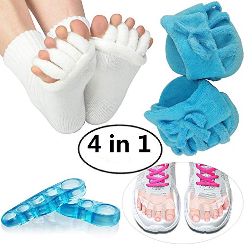Toe Separator Blue Half-foot Slippers, White Toes Alignment Socks, Gel Toe Spacers Toe Stretchers, Instant Therapeutic Bunion Relief for Women and MenAll 1 Pair 4-in-1