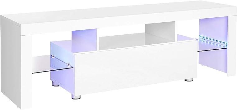 VASAGLE Mueble para TV, Mesa Grande para Televisores de hasta 60 Pulgadas, Soporte para TV con Iluminación LED, 140 x 35 x 45 cm, Moderno, Brillante, Blanco LTV14WT: Amazon.es: Electrónica