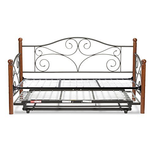 Matte Finish Link - Doral Complete Metal Daybed with Link Spring and Trundle Bed Pop-Up Frame, Matte Black Finish, Twin