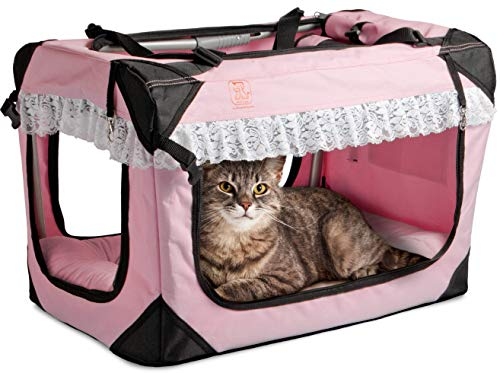 Wheel Away Pet Carrier - PetLuv Happy Cat Premium Soft Sided Foldable Top & Side Loading Pet Carrier & Travel Crate - Locking Zippers Shoulder Carry Straps Seat Belt Lock Plush Nap Pillow Airy Windows Sunroof Reduces Anxiety