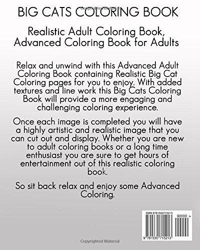 Amazon Big Cats Coloring Book Realistic Adult Advanced Animals For Adults Volume 7