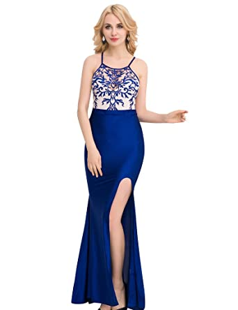d219b1aa0c7c ohyeah Women Halter Sleeveless Split Maxi Long Dress Floral Lace Vintage Evening  Gown Blue