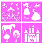 Auto Vynamics - STENCIL-PRINCESSSET01-20 - Detailed Fairy Tale Princess Large Stencil Kit - Featuring A Castle, Carriage, Princesses, & More! - 20-by-20-inch Sheet - (4) Piece Kit - Set of Sheets