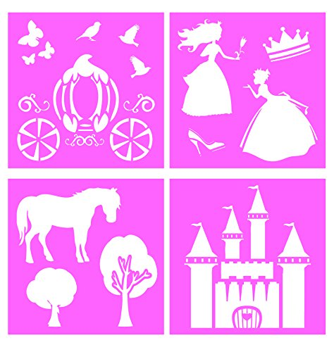 Auto Vynamics - STENCIL-PRINCESSSET01-10 - Detailed Fairy Tale Princess Large Stencil Kit - Featuring A Castle, Carriage, Princesses, & More! - 10-by-10-inch Sheet - (4) Piece Kit - Set of Sheets